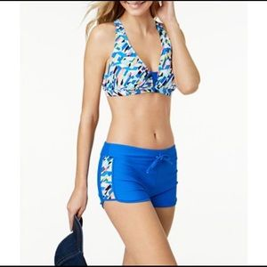 NWT GO Gossip Crossed Signals Swim Shorts Top XL